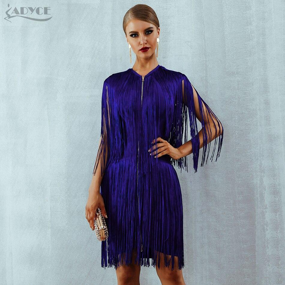 Adyce 2019 New Summer Fringe Bandage Dress Women Elegant Club Party Dress Sexy O Neck Sleeveless