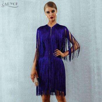 Elegant Club Party Dress Sexy O Neck Sleeveless Tassels Mini Fringe Tank Dress