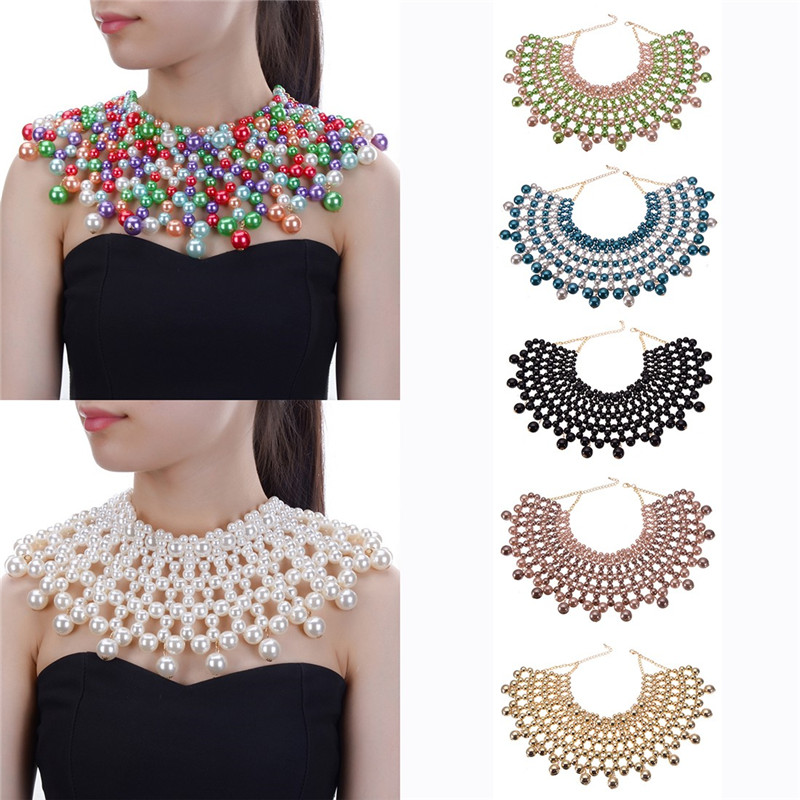 10 Colors Chunky Statement Necklace For Women Neckcklace Bib Collar Choker Handmade Necklace Maxi Jewelry yfjewe crystal necklace women rhinestone pendant necklace ribbon choker bib collar necklace n084