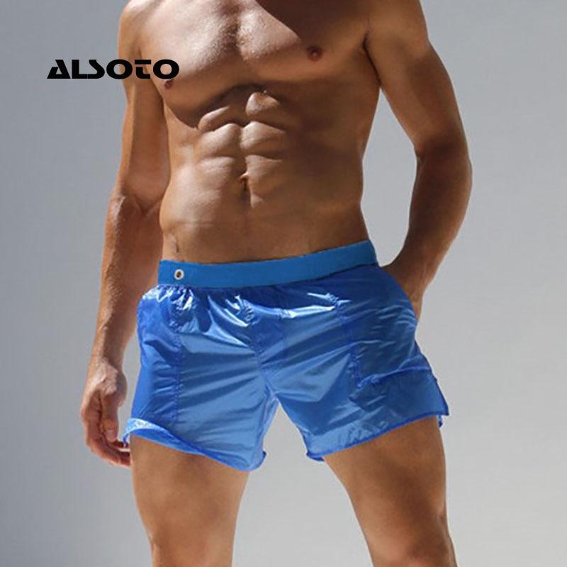 ALSOTO Sexy Translucent Shorts Men Maillot De Bain Homme Bermuda Board Beach Shorts Men Short Bottoms Quick Drying
