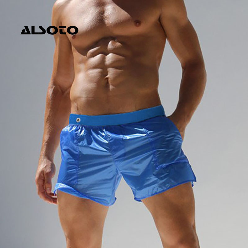 ALSOTO Sexy Translucent   Shorts   Men Maillot De Bain Homme Bermuda Board Beach   Shorts   Men   Short   Bottoms Quick Drying