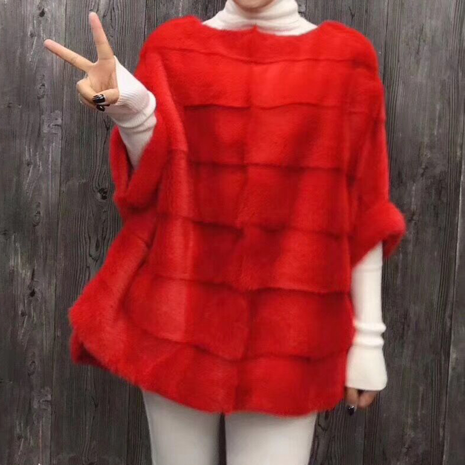 2019 New Real Mink Fur Coat Jacket Pocket Bat Sleeve Batwing Fashion Women Natural Fur Coat Thick Warm Street Style Short Sleeve