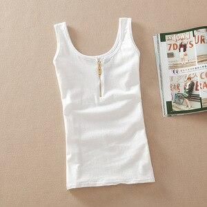 Image 2 - Hàng Mới Về Thời Trang Mùa Hè Khoác Cotton Vest Không Tay Xe Tăng Cao Cấp Áo Kẹo Màu Cơ Bản Vụ Áo Ngực Hàng Đầu phụ Nữ
