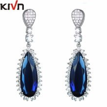 KIVN Fashion Jewelry Dangle Blue Pave CZ Cubic Zirconia Womens Girls Wedding Bridal Earrings Christmas Promotion Birthday Gifts