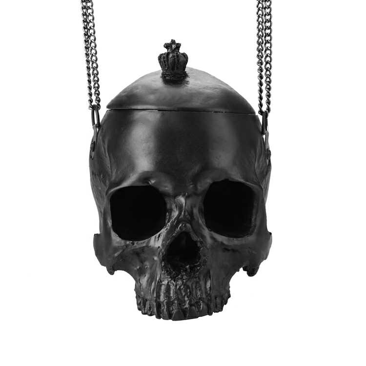 Stylish Black 3D Skull Bag New Lolita Handbags Makeup Chain Shoulder Bag Big Skull Women Messenger Bag Halloween Purse