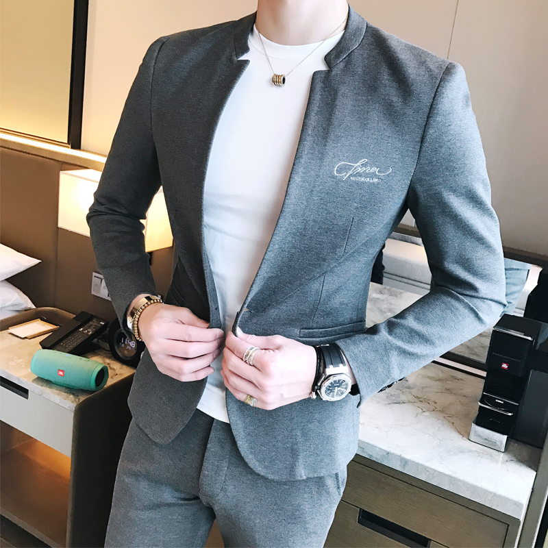 2017 collar collar casual suit male Korean version of the small suit Slim shirt youth single West handsome jacket four seasons t