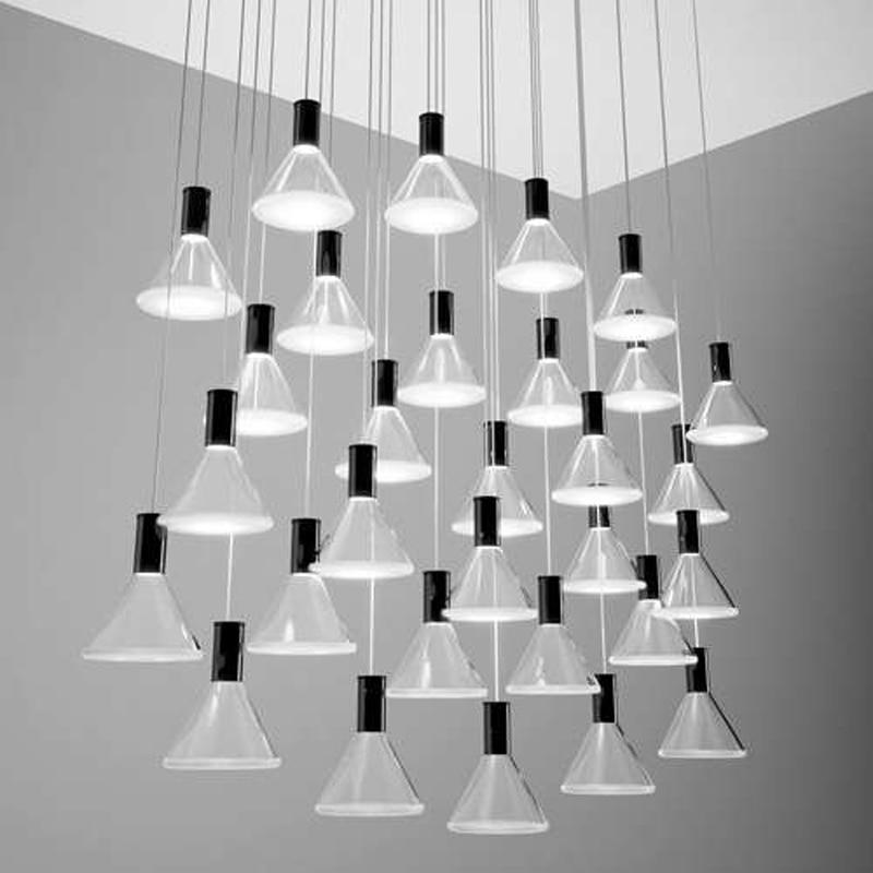 Polair 30 Light Round/ Rectangular Multispot Pendant from Fabbian Suspension Lighting Fixture Hanging Lamp for Restaurant Hotel