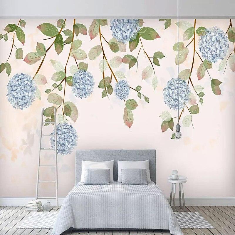 3D Wallpaper Modern Simple Hand Painted Retro Watercolor Leaves Flowers Photo Wall Mural Living Room Bedroom Papel De Parede 3 D