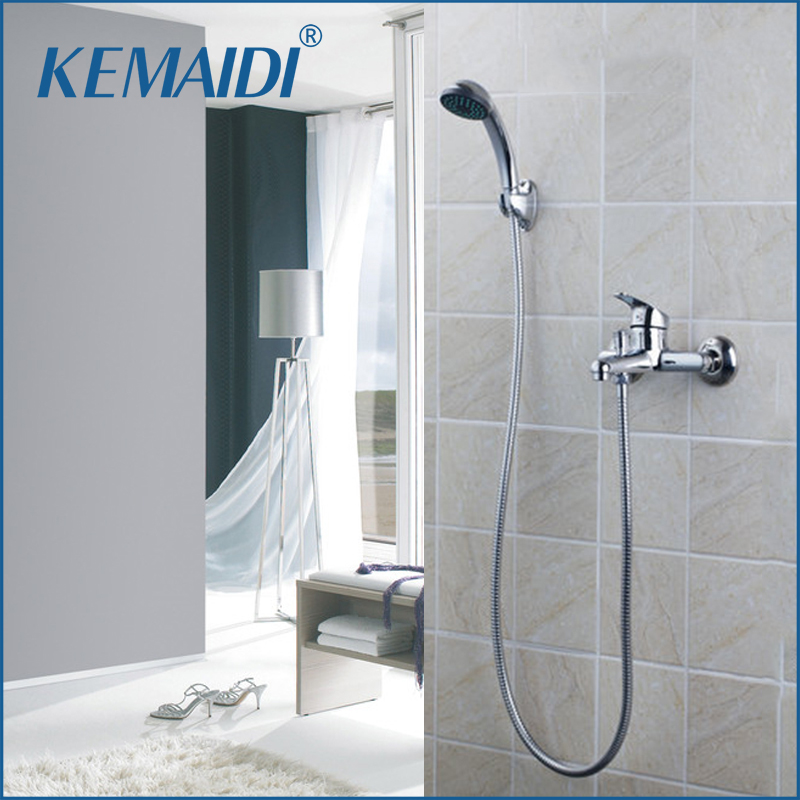 KEMAIDI Bathtub Faucet Shower Sets Wall Mounted Chrome Brass Body ABS Shower Handheld Driver Bathroom Sink Brass Mixer Tap Sets free shipping polished chrome finish new wall mounted waterfall bathroom bathtub handheld shower tap mixer faucet yt 5320
