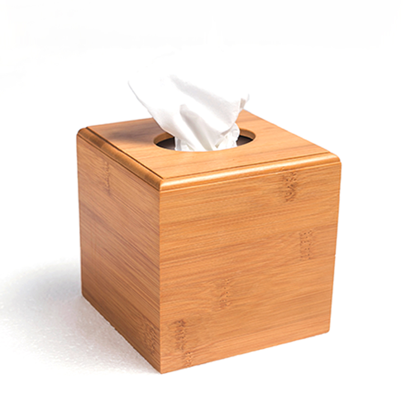 Modern Style Bamboo Square Tissue Box Creative Seat Type Roll Paper Tissue Canister Eco-Friendly Wood Table Decor