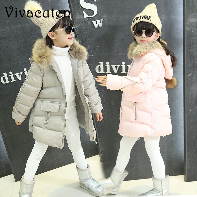 Fashion Girls Winter Coat Kids Outerwear Parka Down Jackets Hooded Fur Collar Outdoor Warm Long Coats Teens Children Clothing fashion long parka kids long parkas for girls fur hooded coat winter warm down jacket children outerwear infants thick overcoat
