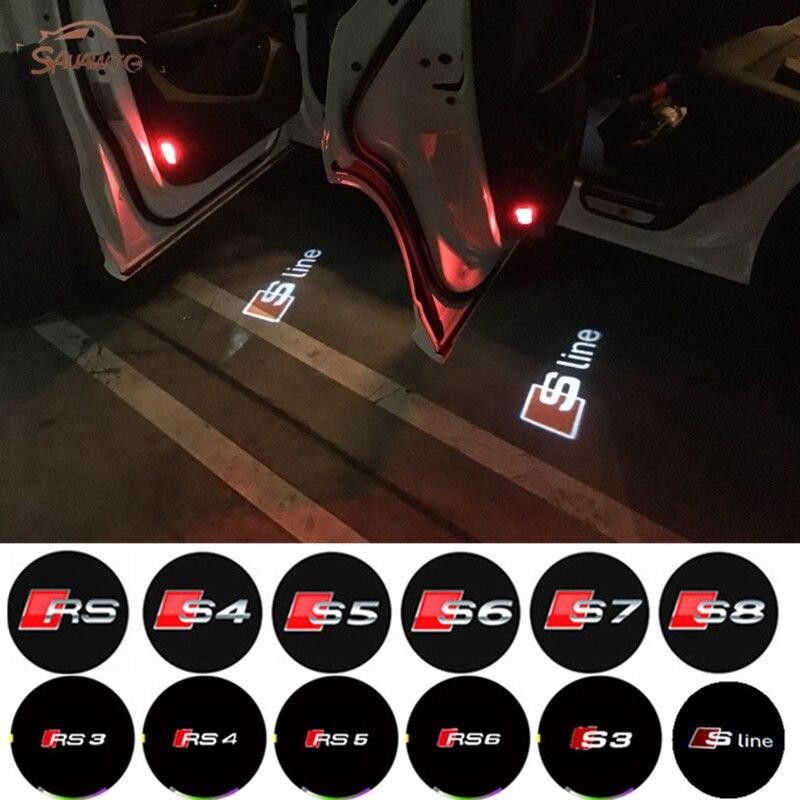 2pcs/lot No Drilling Car LED Ghost Laser Logo Projector Door Welcome Light For Audi Q7 Q5 Q3 C6 B5 B6 A8 A7 A5 A6 A4 A3 A1 R8 TT free shipping 2x h11 led projector fog light drl 12w no error for audi a3 a4 a5 s5 a6 q5 q7 tt