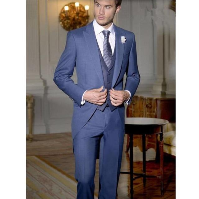 Tailor Made azul marino traje de caballero tailcoat nuevo estilo novio  Trajes Esmoquin boda largo prom 6b719a2b52e