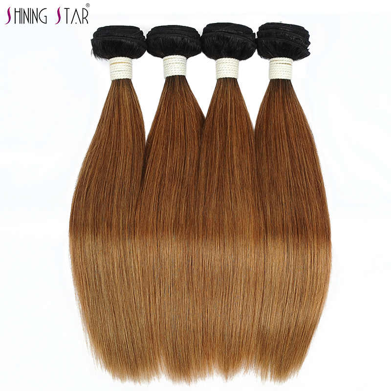 Ombre Brazilian Straight Hair Weave 1/3/4 Pcs Blonde Bundles With Closure T1B 30 Shining Star Colored Non Remy Human Hair Weave