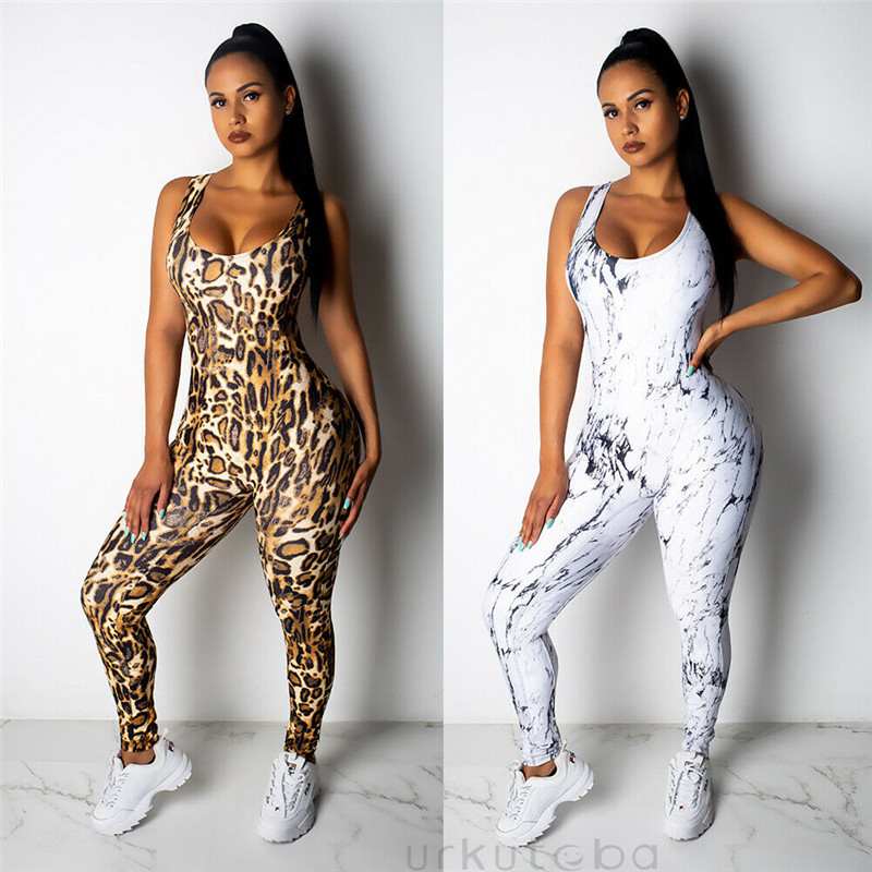 Sexy Leopard Womens Bandage Backless Pants Jumpsuit Fitness Sports Workout Gym Athletic Palysuit Romper Bodysuits Femme