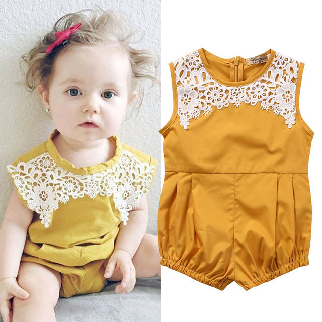 5a787ea49a10 Newborn Baby Girl Clothing Floral Lace Romper Sleeveless Cute Yellow Color Jumpsuit  Outfits Clothes Baby Girls