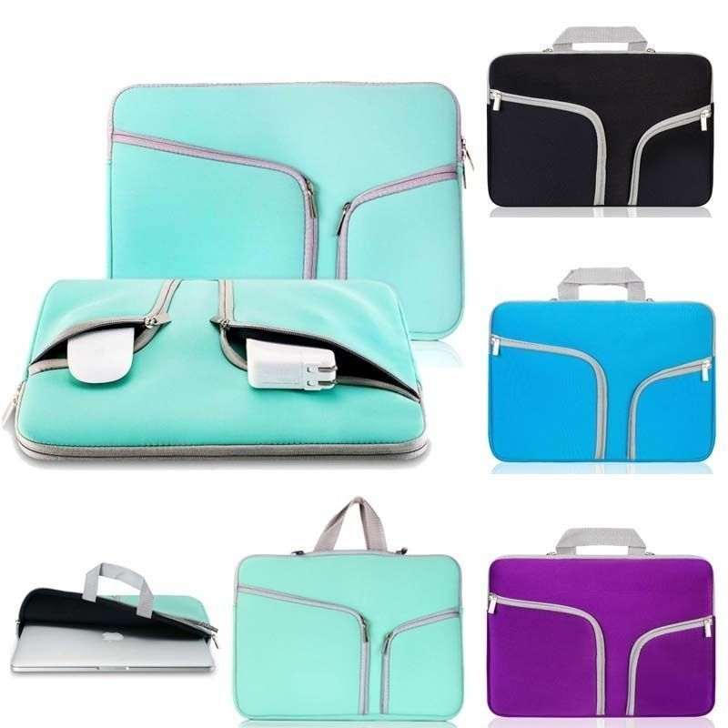 Laptop Cover Case Ultrabook Notebook Sleeve Bag Neoprene Zipper Pouch With Handle Pocket For Macbook Pro Air Retina 11 13 15