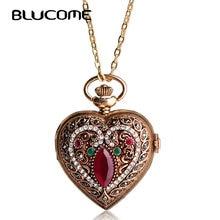 Blucome Amor Corazón Rojo Turco Relojes de Bolsillo Para Mujeres Suéter de La Vendimia Colgante Del Bronce Del Collar de Cuarzo Reloj de Bolsillo Collares