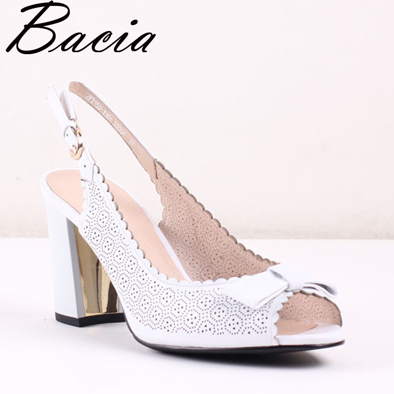 Bacia White Sheep Skin Sandals Handmade Quality Shoes 8.6cm Thick Heels Peep Toe  Summer Fashion Pumps Size 35-40 New SA034