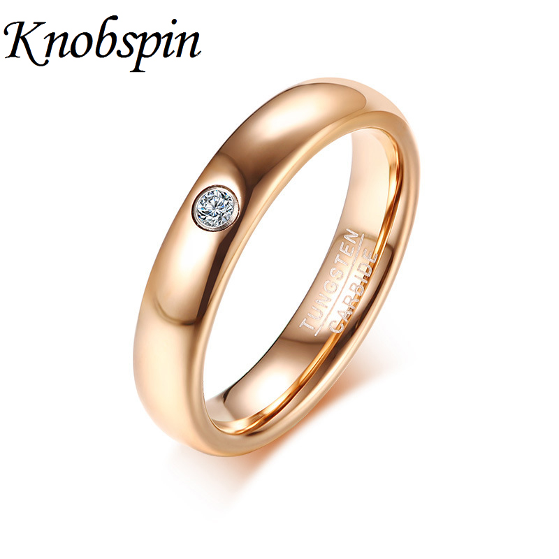 Trendy Elegant Rose Gold Tungsten Carbide Women Ring with Cubic Zirconia Romantic Wedding Ring Jewelry Anniversary Engagement