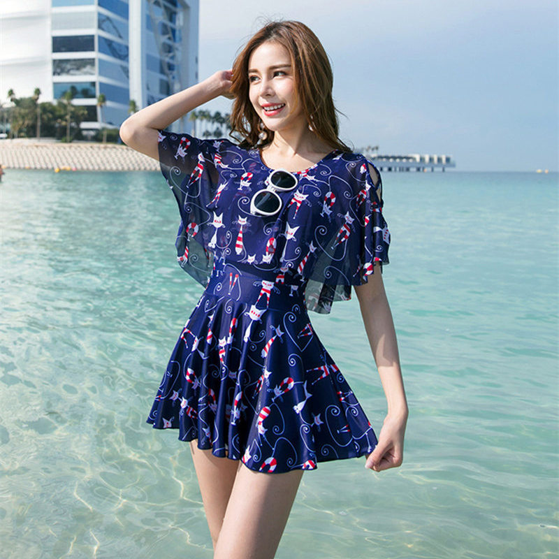 NODELAY One Piece Swimsuit Lovely Cartoon Skirt Swimwear Women Beachwear Printed Bathing Suit 2019 Girls Conservation Swim Suit