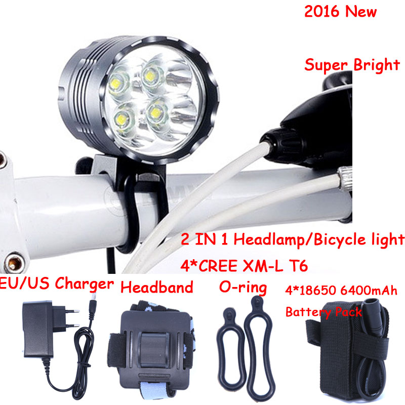 5000 Lumens 4T6 Headlight 4 x CREE XML T6 LED Bike Bicycle Light & LED HeadLight Headlamp,6400mah Rechargeable battery Pack 6000 lumen 3 xml l2 led bicycle bike light headlamp headlight lampe frontal 5 modes rechargable 6400mah battery pack for cycling