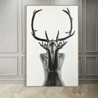 Скандинавские простые черно-белые рога женская модель Абстрактная Картина на холсте Художественная печать плакат Настенная картина для ук...