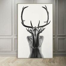 Cuadro de lienzo abstracto con cuernos simples de estilo nórdico blanco y negro para mujer, Póster Artístico impreso, cuadro de pared para decoración del hogar