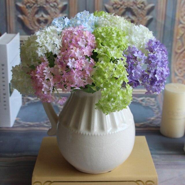Flores Artificiales De Seda De Hortensia Ramo De Novia Fiesta