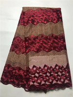 Nigeria Lace Fabric 2016 French Lace Embroidered Tulle Lace With Beads Wine Red African Net Lace
