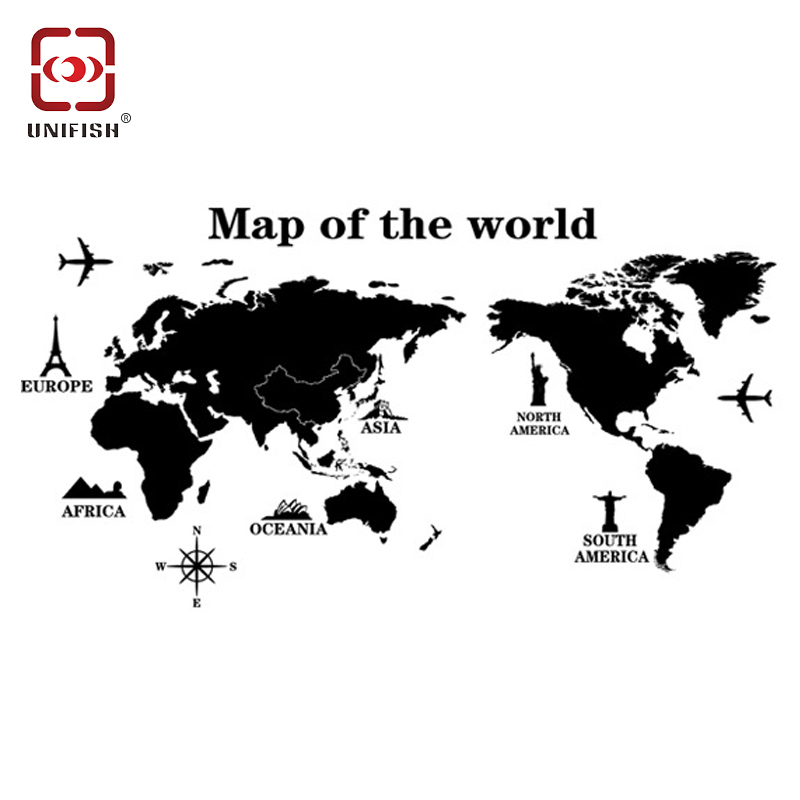 Black Universal Travel World Map Wall Sticker Eco Friendly Decoration Removable PVC Stickers Water Resistant Art Decals In From Home