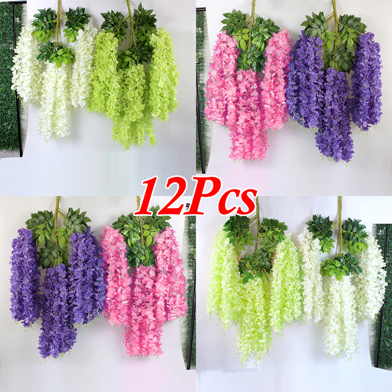 12pcs 100 Cm Artificial Flowers Vine Silk Green Leaves Cane DIY Wedding Living Room Backdrop Wall Birthday Party Decoration