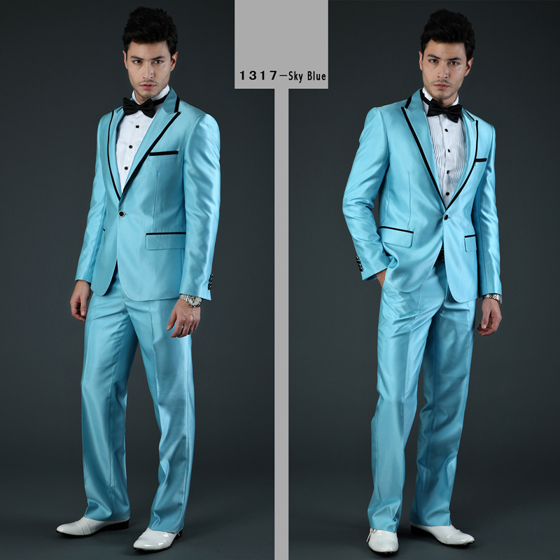 Latest Coat Pant Designs Blue Satin Men Suit Prom Jacket Slim Fit ...