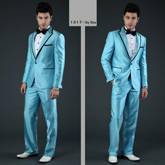 Latest Coat Pant Designs Blue Satin Men Suit Prom Jacket Slim Fit ...