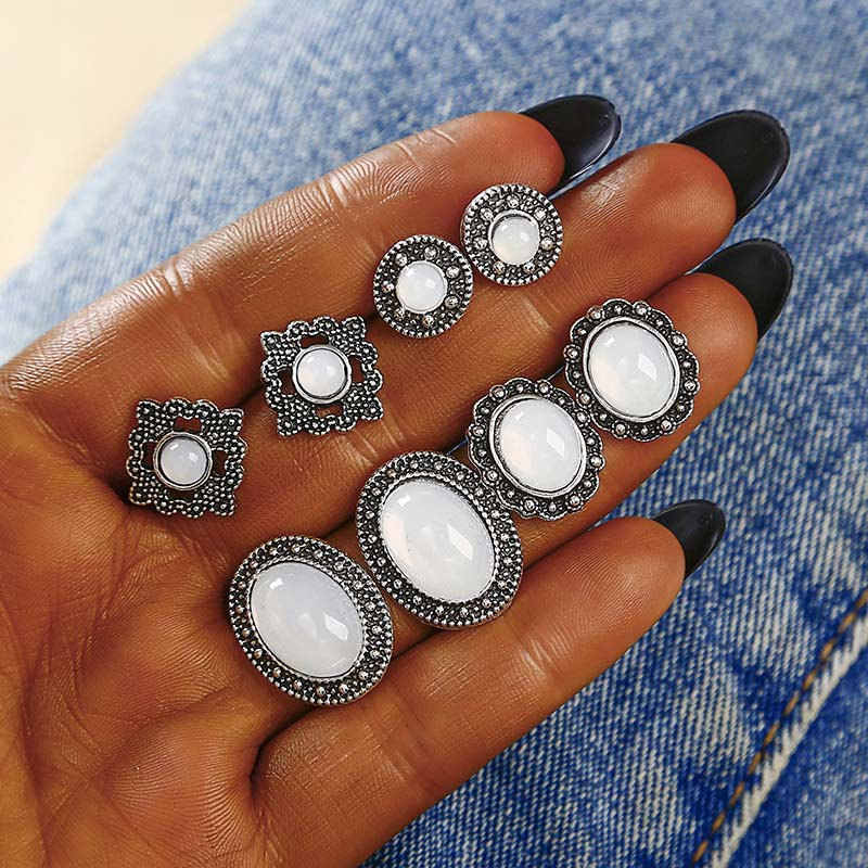 New Fashion Vintage style 4 pair / set women crystal earrings for women Boucle D'oreille earring jewelry wholesale