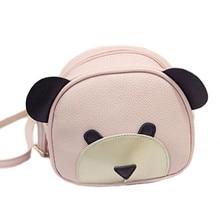 2017 Lady PU Leather Handbags Animal Cute Bear Face Women Bag Baby Girl Mini messenger Shoulder Bag For Women Cross Body Bags