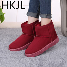 HKJL Shoes woman Winter snow boots sheep fur plus velvet thickening female 2019 new short tube cotton Z024