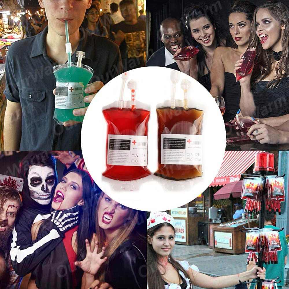 OurWarm 10PCS Vampires Reusable Blood Bags Juice Pouch Coke Wine Beer Bag Horror Halloween Party Decoration Festival Supplies