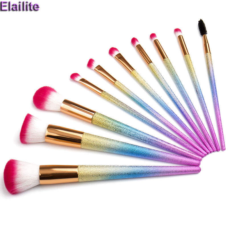Elailite Makeup Brushes Set Rainbow Diamond Glitter Cosmetic Concealer Eyeshadow Eyebrow Eyeliner Eyelid Lip Blending Brush Kits 1 4pcs cosmetic makeup brushes set eyebrow eyeliner eyelashes lip makeup brush kits eyeshadow blush brushes pinceis de maquiagem