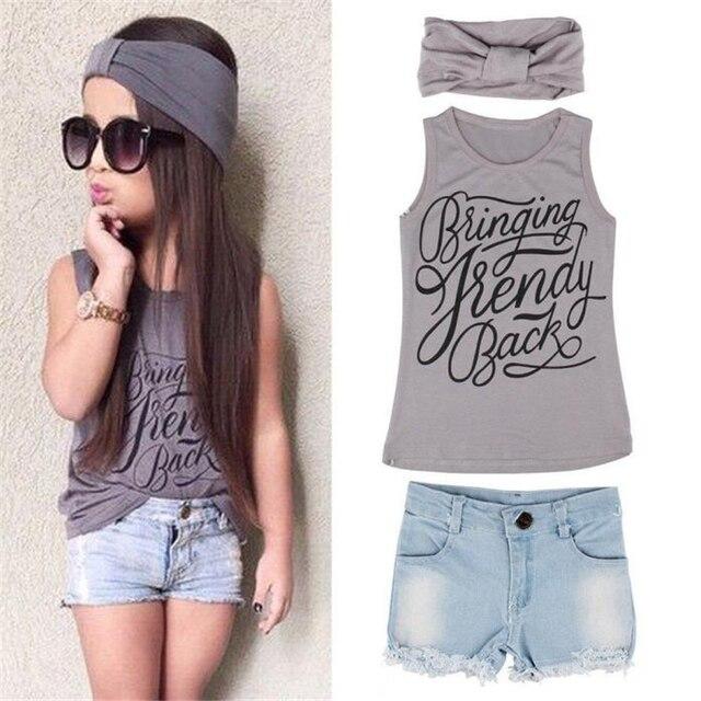 d7cb708ef Grande Coisa 1 Conjunto Roupa de Crianças Define Meninas Colete Top Roupas  + Calças Jeans Shorts