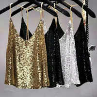 Sexy Club Metal Chains Sequins Halter Camisole women Beading Tank loose backless Gold metallic shiny straps Camis Party tops