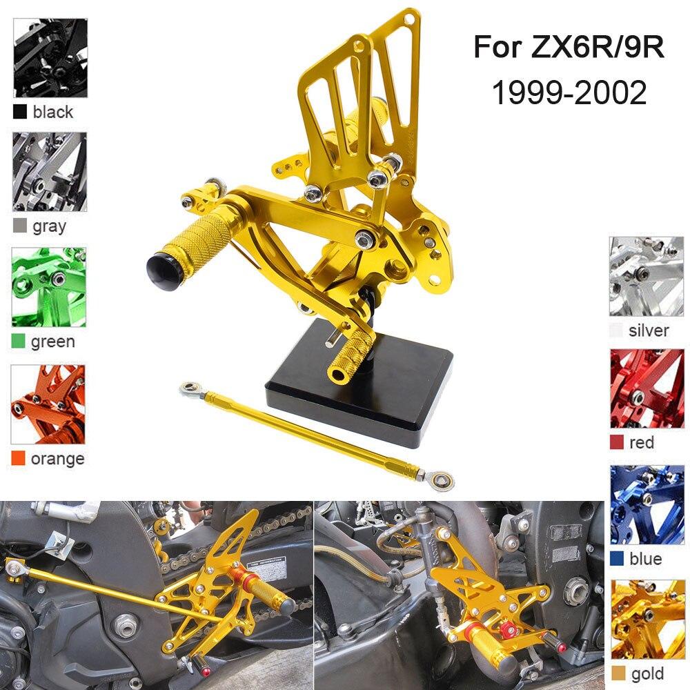 CNC Aluminum Adjustable Rearsets Foot Pegs For Kawasaki Ninja ZX6R ZX636 ZX9R 1999 2000 2001 2002