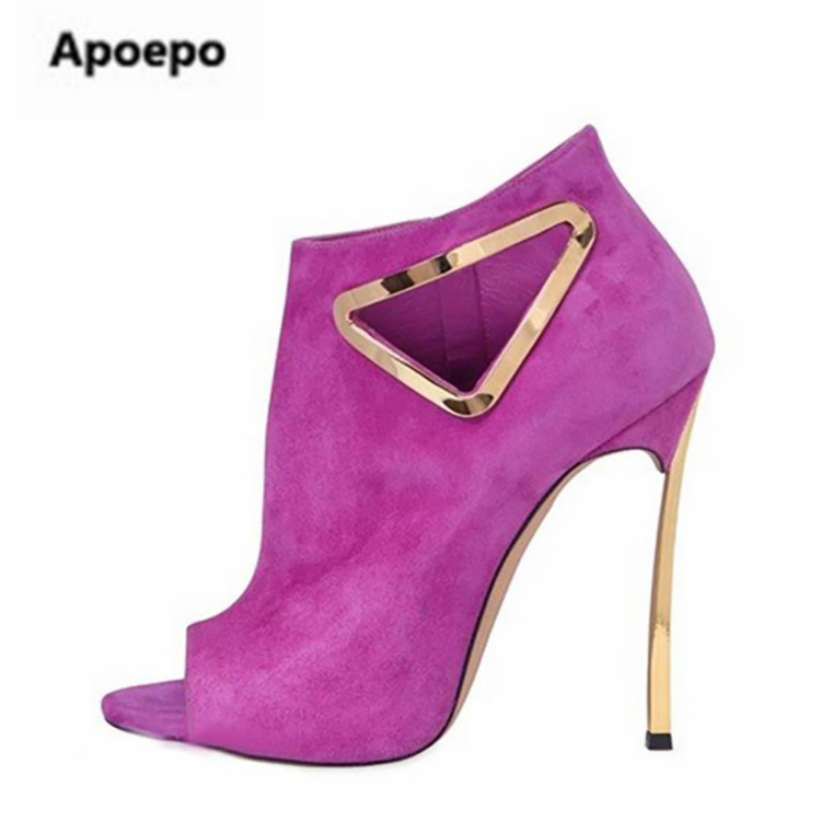 Apoepo real picture purple black suede fashion ankle boots sexy peep toe thin heels high heels pumps metal decoration boots