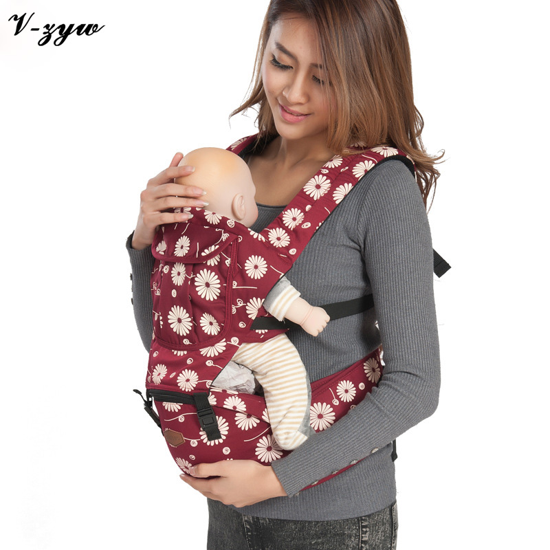 ФОТО Fashion 2-30 Months Breathable Multifunctional Baby Backpack Carrier Infant Baby Sling Backpack Pouch Wrap Baby GZ128