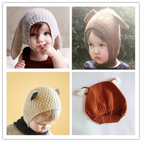 10PCS Wholesale Autumn Winter Unisex Baby Girls Boys Cute Knitted Animal Hat Kids Rabbit Fox Goat