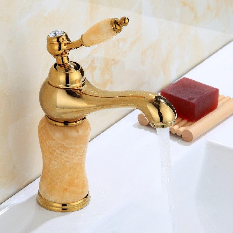 Золотой и розовый Золотой нефритовый кран для украшения ванной комнаты с одной ручкой, кран для раковины с одним отверстием, аксессуары для ...