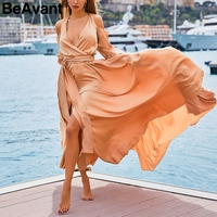 BeAvant Elegant long sleeve satin women dress summer 2019 Sexy backless long dress party Cold shoulder ladies casual dresses