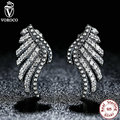 VOROCO Authentic 100% 925 Sterling Silver Majestic Feathers Phoenix-Wing Drop Earrings Compatible with VRC Jewelry S426