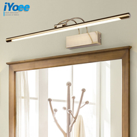 iYoee Modern Bronze Indoor LED Wall Lights Top Mirror Nickel vanity Picture Lighting Fixtures 45 75cm long Bathroom Light 220V