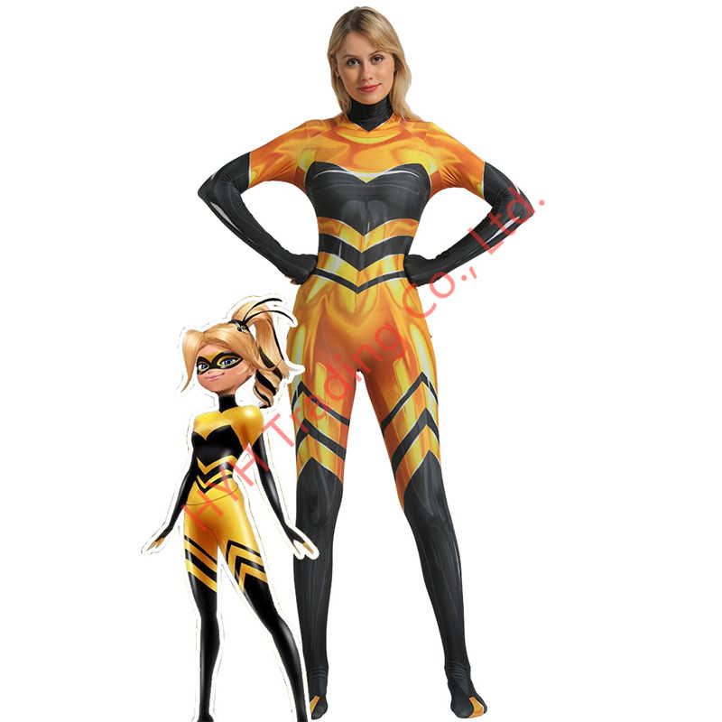 Anime Ratu Lebah Ladybug Girls Jumpsuit Kostum Cosplay Lady Bug Zentai Baju Pesta Halloween Lady Bug Kostum Perapi Pakaian